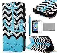 Padrão COCO FUN ® Blue Anchor PU Leather Case Full Body com Filme, Stand e Stylus para iPhone 5/5S