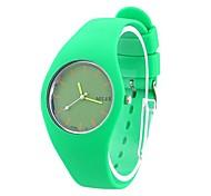 Ronde verte de Coway mode particulier unisexe cadran vert de bande de silicone de quartz analogique montre-bracelet étanche