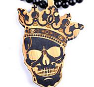 Hip-Hop-Mode gut Schädel Anhänger braune Holz Halskette (1 PC)