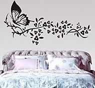 Butterfly And  Flower Design Beautiful Plastic Wall Sticker (Black x1pcs)