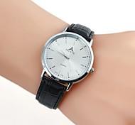 Elegant Man White Leather Wrist Watch(1pc)