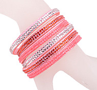 Multilayer Pink Rhinestone Leather Bracelet