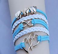 Women's Fashion Golden Double Heart  Woven Bracelet(Assorted Color)