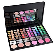 Professional 78 Color Eyeshadow / Blusher/ Lip Gloss Palette Cosmetics Set with Mirror& Sponge Applicator