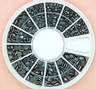 1200PCS Mixed Size 3D Round Black Alloy Studs Wheel Nail Art Decoration