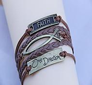 Women's Vintage One Direction Fish Wax Rope PU Handmade Woven Bracelet
