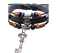 Unisex's Open the Happy Door's Key  Leather  Bracelets