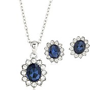 Fashion Sweet Temperament Bright Blue Gemstone Necklace Earrings Set
