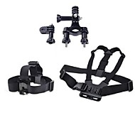 3 in 1 Chest Strap + Head Strap+1.9-3.5cm Bike Handlebar Seatpost with Pivot arm For GoPro Hero 1 2 3 3+Camera