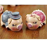 ENKAY 2 Pack Couple of Pig Pattern Resin for Decoration or Gift
