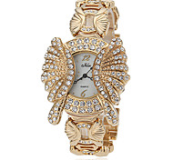 Diamante ronde des femmes de cadran de quartz de bande de montre de mode analogique en alliage (couleurs assorties)