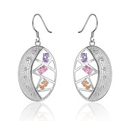Fashion Oval Silver Silver-Plated Drop Earrings(Silver)(1Pair)