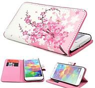 Mini elegantes Blumen-Muster PU-Leder Etui mit Magnetverschluss und Karten-Slot für Samsung S5 Mini G800