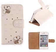 Rhinestone Handmade Bling Lovely Flower Design Leather Case for iPhone 5C