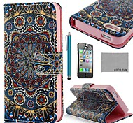 COCO FUN ® Golden Tribal PU Leather Full Body hoesje met Screen Protector, Stand en Stylus voor iPhone 4/4S