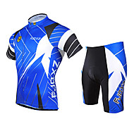FJQXZ Men's Breathable Mesh Jersey Lycra Shorts Summer Short Sleeve Cycling Suit - Blue+White