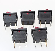 bouton à bascule 3 broches on / off - rouge + noir (6a, ac 250v / 10a, ac 125v) (5pcs)