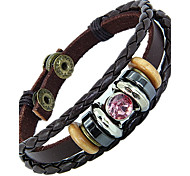 Ethnic For Couples 20cm Men's Brown Leather Leather Bracelet(Blue,Pink)(1 Pc)