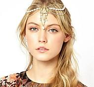 Crystal Imitation Pearl Charm Chain Nugget Elegant Hair Crown Headband