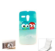 Couples Owl Design Durable TPU Soft Cover Case and Mini Display Stand with Diamond Dust Plug for Motorola Moto G
