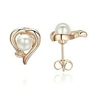 Ladies Jewelry 18K Rose Gold Plated Swarov Crystal Heart Pearl Stud Earrings E246R1