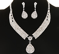Vintage Diamanted Drop Water Silver Jewelry Set(Necklace&Earrings)(1 Set)