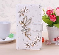 DIY Angel and Lucky Flowers with Rhinestone Leather Full Body Case for Nokia Lumia 620 N620