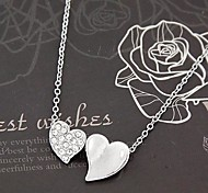 Fashion Sweet Heart to Heart Rhinestone Necklace
