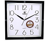 "POWER™ 11""H Brief Style Square Shape Black Border Super Mute Wall Clock"