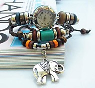 Women's Vintage Elephant Pendant Style Leather Handmade Weave Band Quartz Analog Bracelet  Watch