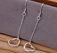 Sweet Heart Shape Silver Plated  Earring(Silver)(1Pair)