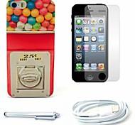 caso caramella dura del modello della macchina e la protezione dello schermo e dello stilo e cavo per iPhone 5 / 5s