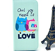 Owl You Need Love Pattern PU Leather Cover with Stand and Card Slot for iPhone 6