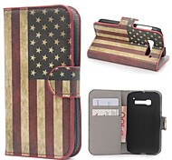 EE.UU. bandera de la carpeta del cuero americana con soporte y tarjeta de ranura para alcatel one touch pop c5
