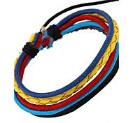 estilo europeo pulsera unisex multicolor de cuero fresco (color al azar)