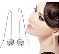 Fashion Silver Eight Heart, Eight Arrows Long Earrings Drop Earrings