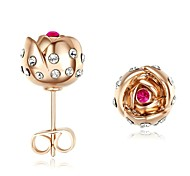 presente para namorada 18k ouro rosa rosa flor budlet brincos de usar austria cristal