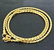 18k de oro de titanio plateado collar de cadena de acero de los hombres de la moda