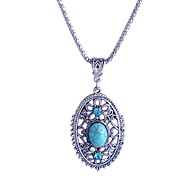 Lureme®Turkey Blue Tophus Diamond Long Oval  Pendant Necklace