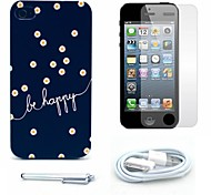 Be Happy Daisy Pattern Hard Case and Screen Protector and Stylus and Cable for iPhone 4/4S