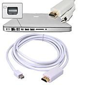 Envío libre de 1,8 m 5,9 pies de alta calidad dp puerto mini pantalla macho a HDMI convertidor de m m / adaptador de cable macho-blanco