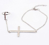 European Style Punk Metal Cross Bracelet with Ring