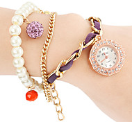 Women's Diamante Round Dial Alloy Band Quartz Analog Fashion Watch (Assorted Colors)