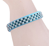 European Style Pearl Blue Rhinestone Leather Bracelet