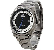 Men's Simple Dial Black Steel Band Automatic Self Wind Wrist Watch