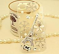 Diamant Der Eiffelturm und Blütenblätter rückseitigen Abdeckung für iPhone 4 / 4S