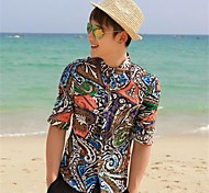 Men's Lapel Neck Floral Print Sheath Shirt