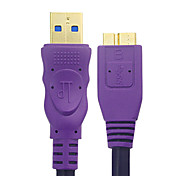 Micro USB 3.0 Male to Male Data Cable(Purple) 1.2M