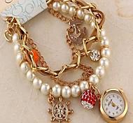 Women's Fashion Elements Diamond Pearl Bracelet Watch