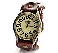vintage relógio grande de couro Dial banda de pulso de quartzo analógico dos homens (cores sortidas)